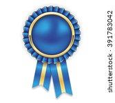 blue rosette  badge with gold... | Shutterstock .eps vector #391783042