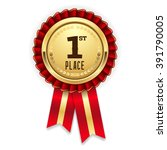 gold 1st place rosette  badge... | Shutterstock .eps vector #391790005