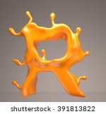 juicy letter 3d r | Shutterstock . vector #391813822