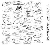 Set Of Men Shoes Painted Lines...