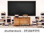 Classroom  Blackboard On White...