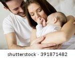happy family with newborn baby | Shutterstock . vector #391871482