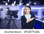 television presenter recording... | Shutterstock . vector #391879186