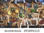brunch choice crowd dining food ... | Shutterstock . vector #391890115