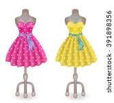 fashionable dress with polka... | Shutterstock .eps vector #391898356