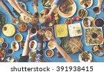 friends happiness enjoying... | Shutterstock . vector #391938415