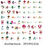 mega set of paper logo abstract ... | Shutterstock .eps vector #391941316