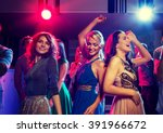 Stock photo party holidays celebration nightlife and people concept smiling friends dancing in club 391966672