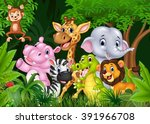 cartoon happy animal collection ... | Shutterstock . vector #391966708