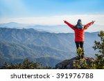 woman traveler in red coat... | Shutterstock . vector #391976788