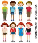 boys and girls smiling... | Shutterstock .eps vector #392008855
