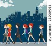 People Walking On The Street...