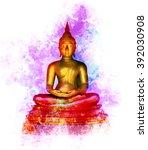 golden buddha statue on grunge... | Shutterstock . vector #392030908