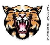 hand drawn roaring tiger head... | Shutterstock .eps vector #392031952