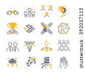 business teamwork icons.... | Shutterstock .eps vector #392037115