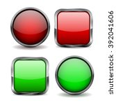 glass buttons. set of red and... | Shutterstock .eps vector #392041606