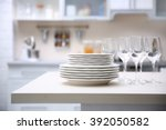 prepared clean dishes for... | Shutterstock . vector #392050582