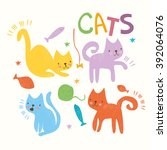 vector set. simple cute cats.... | Shutterstock .eps vector #392064076
