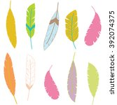 colorful aztec feathers... | Shutterstock .eps vector #392074375
