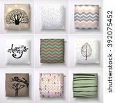 realistic 3d throw pillow... | Shutterstock .eps vector #392075452