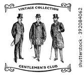 vintage hand drawn gentlemen... | Shutterstock .eps vector #392084062