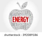 energy apple word cloud concept | Shutterstock . vector #392089186