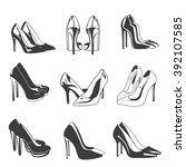 Vector Set Of Woman Shoes On...