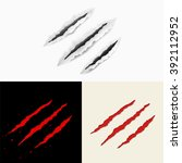 set of claw scratches. vector... | Shutterstock .eps vector #392112952
