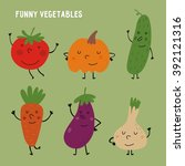 funny vegetables vector set | Shutterstock .eps vector #392121316