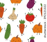 funny vegetables seamless... | Shutterstock .eps vector #392121322