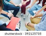 group of people visiting course ... | Shutterstock . vector #392125735