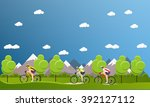 group of bicycle riders on... | Shutterstock .eps vector #392127112