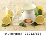 lemon oil and aromatherapy... | Shutterstock . vector #392127898