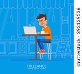 male freelancer working... | Shutterstock .eps vector #392129536