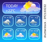 cartoon set of weather icons.... | Shutterstock .eps vector #392133232