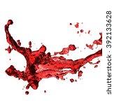 red juice splash closeup... | Shutterstock . vector #392133628