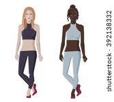 vector flat style woman figures ... | Shutterstock .eps vector #392138332