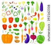 set vector vegetables and herbs.... | Shutterstock .eps vector #392162338