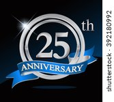 25th anniversary logo with blue ... | Shutterstock .eps vector #392180992