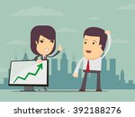 young business woman points to... | Shutterstock .eps vector #392188276