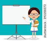 female doctor on presentation.... | Shutterstock .eps vector #392200372