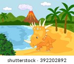 funny cute styracosaurus the... | Shutterstock .eps vector #392202892