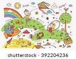 children outdoor activities.... | Shutterstock .eps vector #392204236