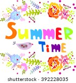summer time graphic with flower    Shutterstock .eps vector #392228035