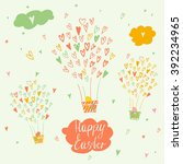 balloons and a basket with...   Shutterstock . vector #392234965