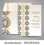 invitation or wedding card with ... | Shutterstock .eps vector #392293432