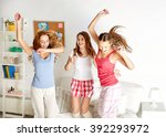 friendship  people and pajama... | Shutterstock . vector #392293972