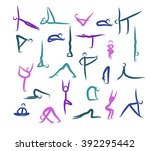 set of yoga positions. color.... | Shutterstock .eps vector #392295442
