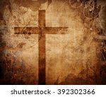 christian cross on paper... | Shutterstock . vector #392302366