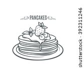 hand drawn pancakes with... | Shutterstock .eps vector #392311246